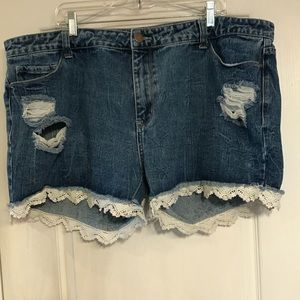Forever 21+ 18 lace hem distressed jean shorts